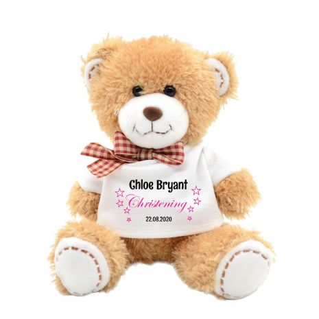 Personalised Girls Christening Day Plush Teddy Bear N1